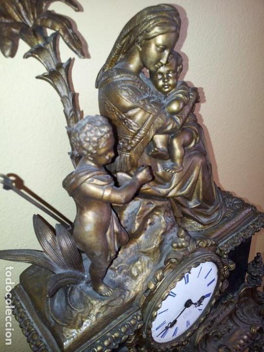 Relojes de carga manual: Reloj frances sobremesa en bronce patinado y marmol ..siglo XIX..CIUDAD DE NEVERS FRANCIA - Foto 2 - 82083716