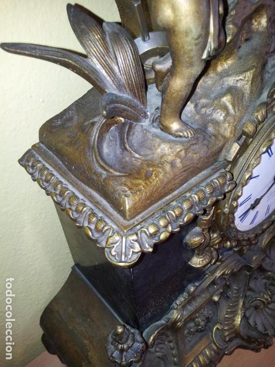 Relojes de carga manual: Reloj frances sobremesa en bronce patinado y marmol ..siglo XIX..CIUDAD DE NEVERS FRANCIA - Foto 5 - 82083716