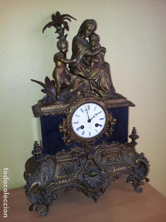 Relojes de carga manual: Reloj frances sobremesa en bronce patinado y marmol ..siglo XIX..CIUDAD DE NEVERS FRANCIA - Foto 7 - 82083716