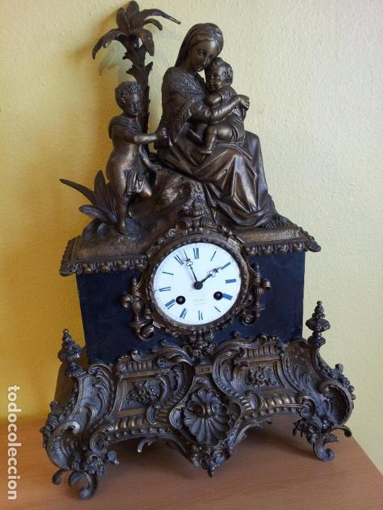 Relojes de carga manual: Reloj frances sobremesa en bronce patinado y marmol ..siglo XIX..CIUDAD DE NEVERS FRANCIA - Foto 9 - 82083716
