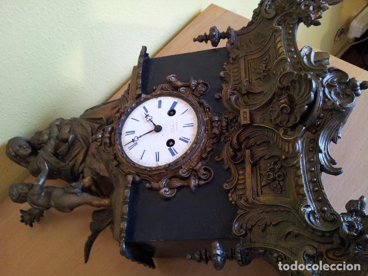 Relojes de carga manual: Reloj frances sobremesa en bronce patinado y marmol ..siglo XIX..CIUDAD DE NEVERS FRANCIA - Foto 11 - 82083716