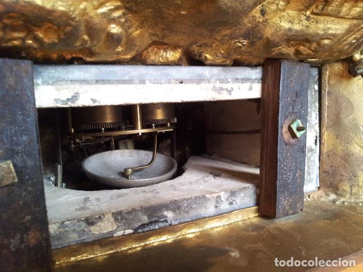Relojes de carga manual: Reloj frances sobremesa en bronce patinado y marmol ..siglo XIX..CIUDAD DE NEVERS FRANCIA - Foto 15 - 82083716