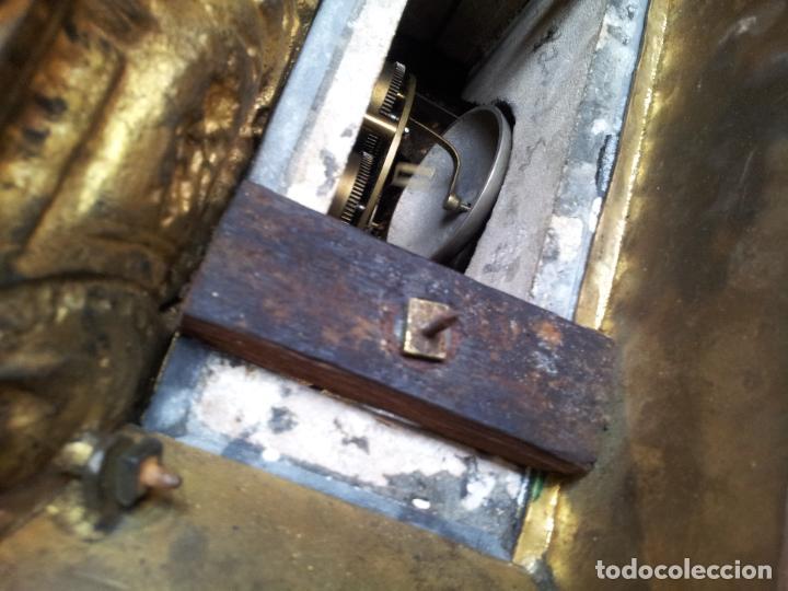 Relojes de carga manual: Reloj frances sobremesa en bronce patinado y marmol ..siglo XIX..CIUDAD DE NEVERS FRANCIA - Foto 16 - 82083716
