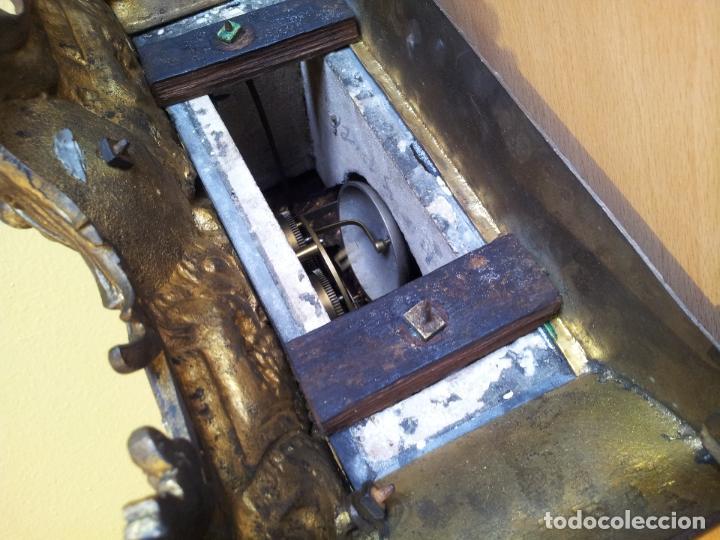 Relojes de carga manual: Reloj frances sobremesa en bronce patinado y marmol ..siglo XIX..CIUDAD DE NEVERS FRANCIA - Foto 20 - 82083716