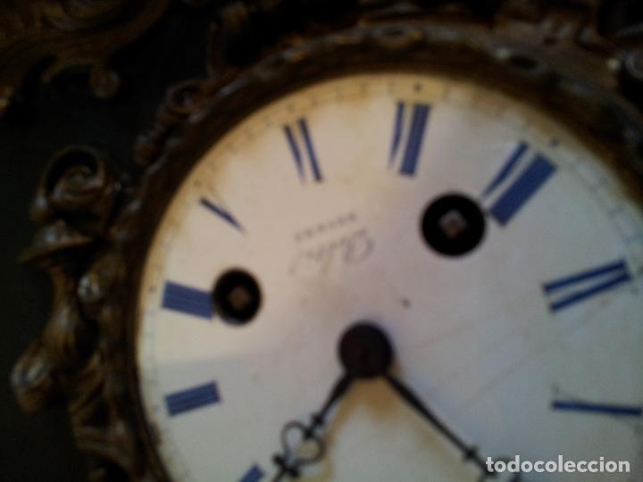 Relojes de carga manual: Reloj frances sobremesa en bronce patinado y marmol ..siglo XIX..CIUDAD DE NEVERS FRANCIA - Foto 21 - 82083716