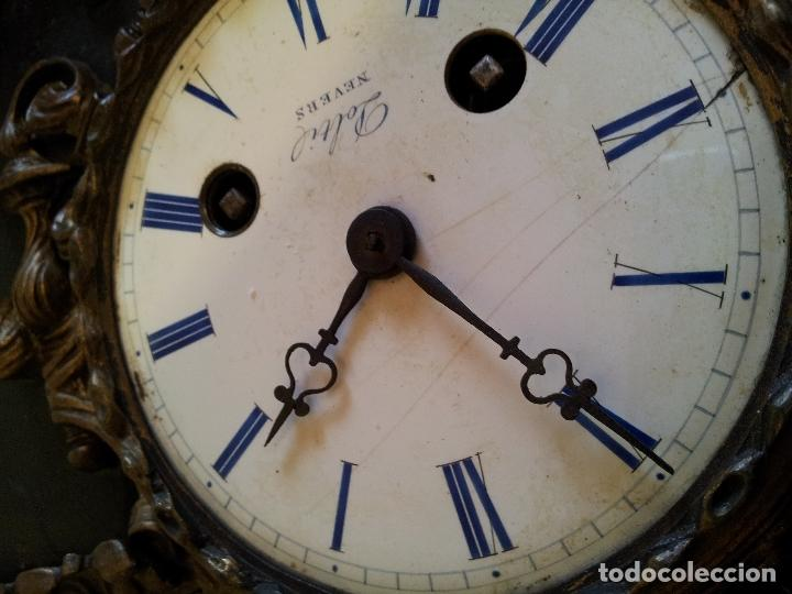 Relojes de carga manual: Reloj frances sobremesa en bronce patinado y marmol ..siglo XIX..CIUDAD DE NEVERS FRANCIA - Foto 22 - 82083716