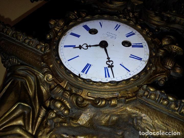 Relojes de carga manual: Reloj frances sobremesa en bronce patinado y marmol ..siglo XIX..CIUDAD DE NEVERS FRANCIA - Foto 23 - 82083716