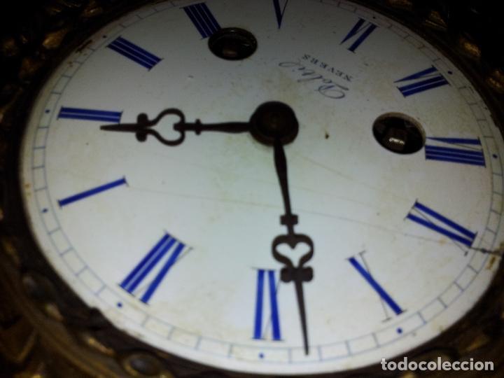 Relojes de carga manual: Reloj frances sobremesa en bronce patinado y marmol ..siglo XIX..CIUDAD DE NEVERS FRANCIA - Foto 24 - 82083716