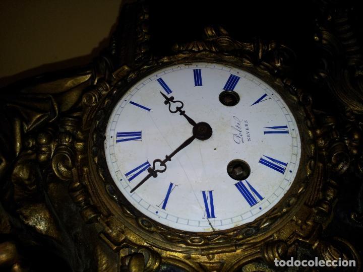Relojes de carga manual: Reloj frances sobremesa en bronce patinado y marmol ..siglo XIX..CIUDAD DE NEVERS FRANCIA - Foto 25 - 82083716