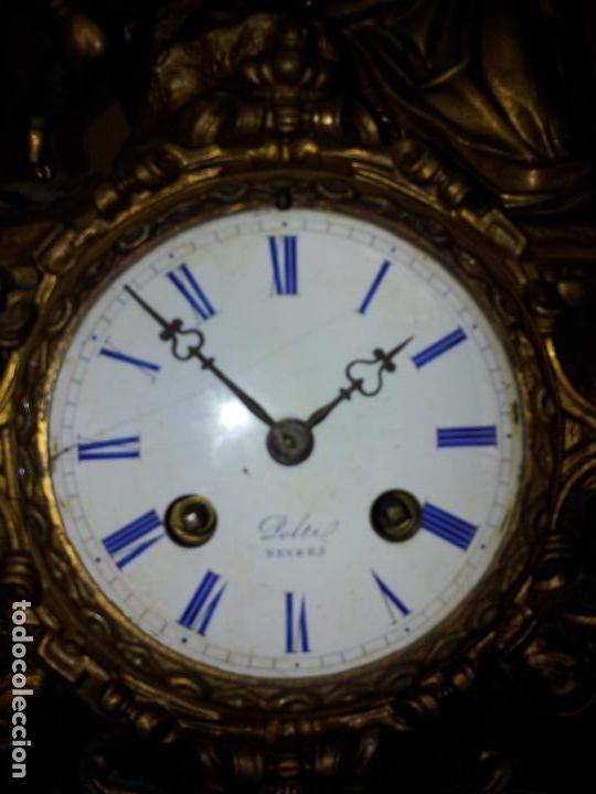 Relojes de carga manual: Reloj frances sobremesa en bronce patinado y marmol ..siglo XIX..CIUDAD DE NEVERS FRANCIA - Foto 26 - 82083716