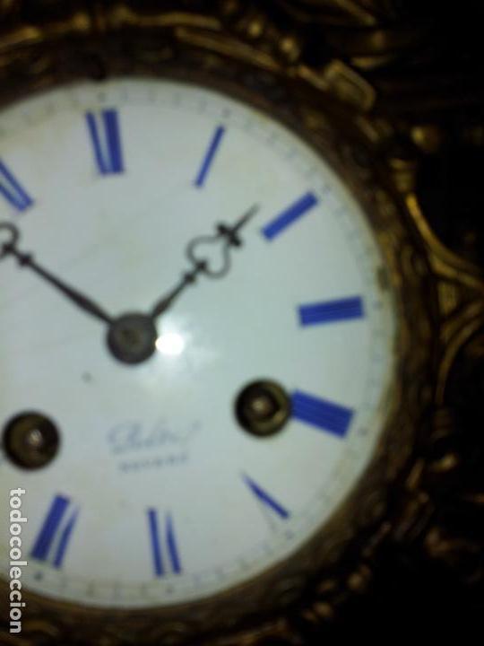 Relojes de carga manual: Reloj frances sobremesa en bronce patinado y marmol ..siglo XIX..CIUDAD DE NEVERS FRANCIA - Foto 27 - 82083716