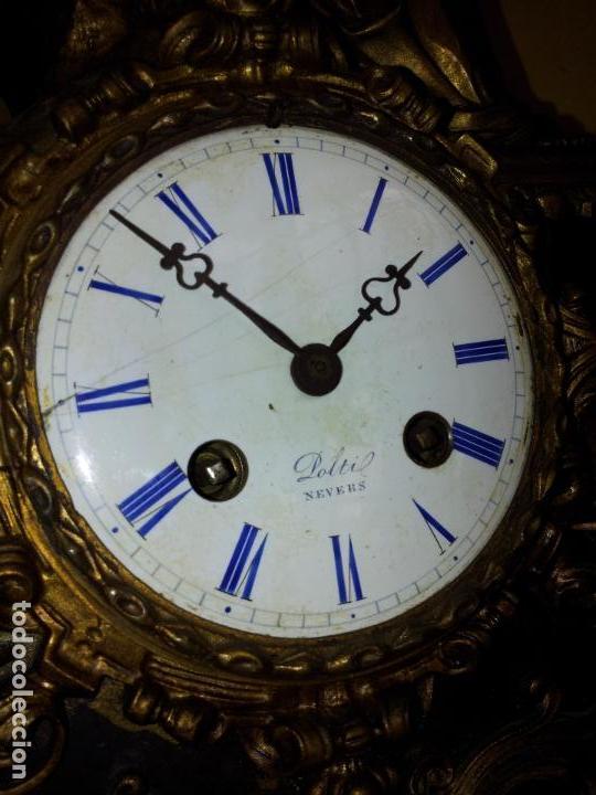 Relojes de carga manual: Reloj frances sobremesa en bronce patinado y marmol ..siglo XIX..CIUDAD DE NEVERS FRANCIA - Foto 28 - 82083716