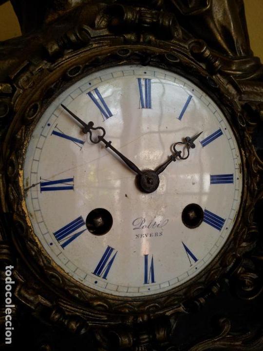 Relojes de carga manual: Reloj frances sobremesa en bronce patinado y marmol ..siglo XIX..CIUDAD DE NEVERS FRANCIA - Foto 30 - 82083716