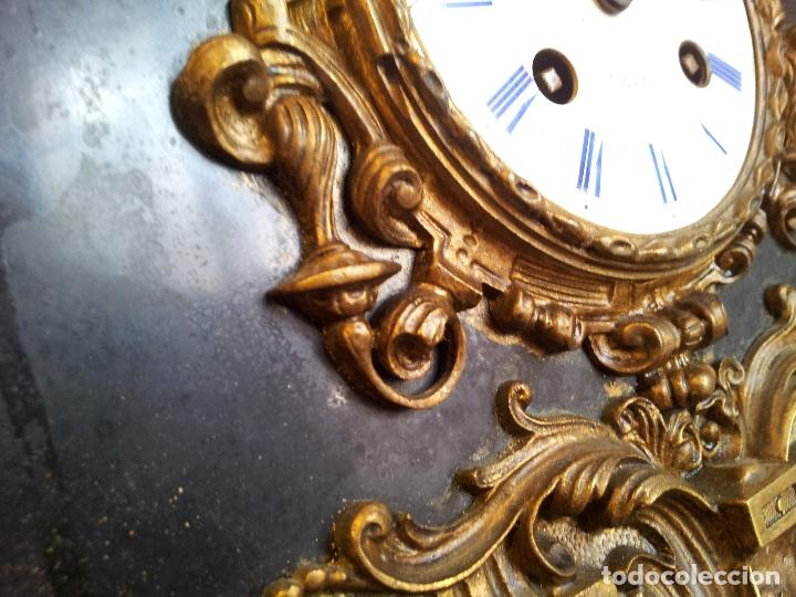 Relojes de carga manual: Reloj frances sobremesa en bronce patinado y marmol ..siglo XIX..CIUDAD DE NEVERS FRANCIA - Foto 33 - 82083716