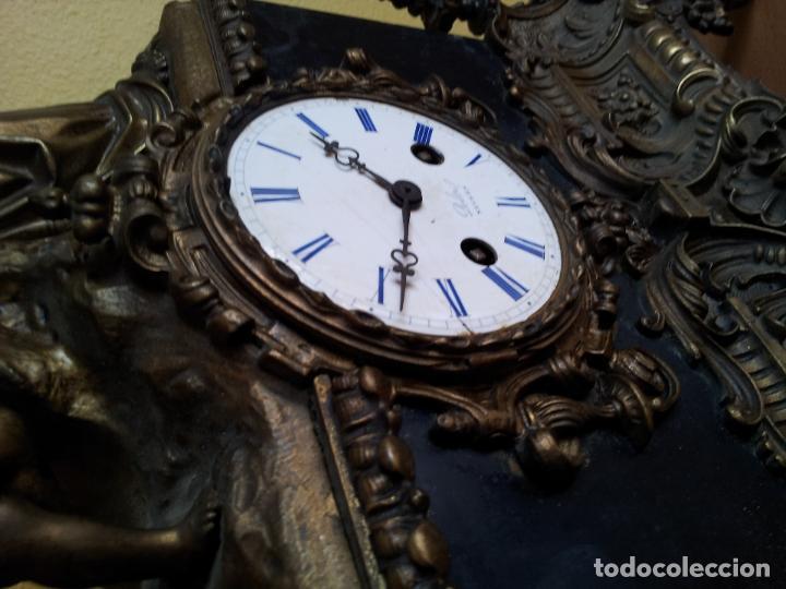 Relojes de carga manual: Reloj frances sobremesa en bronce patinado y marmol ..siglo XIX..CIUDAD DE NEVERS FRANCIA - Foto 38 - 82083716