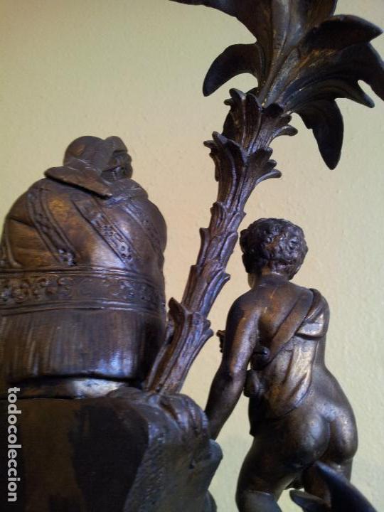 Relojes de carga manual: Reloj frances sobremesa en bronce patinado y marmol ..siglo XIX..CIUDAD DE NEVERS FRANCIA - Foto 50 - 82083716