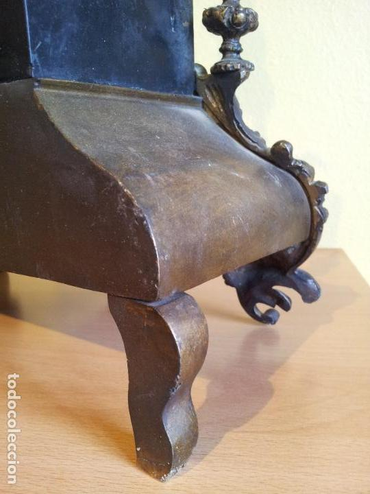 Relojes de carga manual: Reloj frances sobremesa en bronce patinado y marmol ..siglo XIX..CIUDAD DE NEVERS FRANCIA - Foto 54 - 82083716