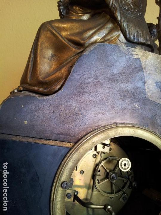 Relojes de carga manual: Reloj frances sobremesa en bronce patinado y marmol ..siglo XIX..CIUDAD DE NEVERS FRANCIA - Foto 63 - 82083716