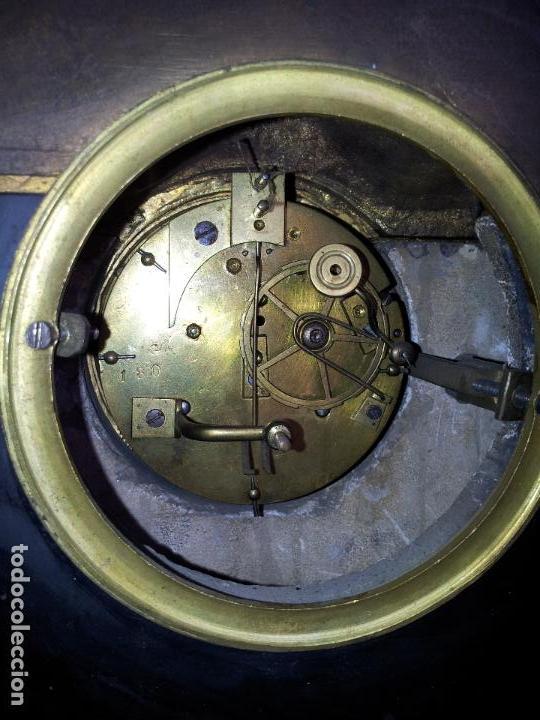 Relojes de carga manual: Reloj frances sobremesa en bronce patinado y marmol ..siglo XIX..CIUDAD DE NEVERS FRANCIA - Foto 75 - 82083716