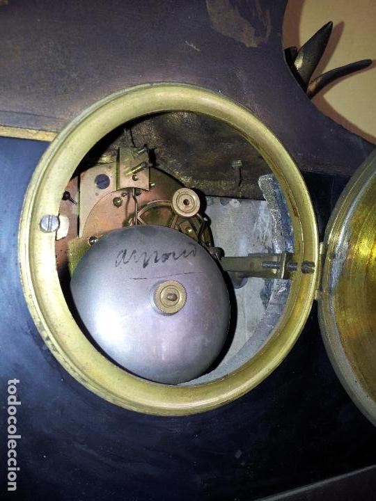 Relojes de carga manual: Reloj frances sobremesa en bronce patinado y marmol ..siglo XIX..CIUDAD DE NEVERS FRANCIA - Foto 76 - 82083716