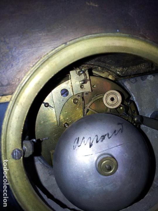 Relojes de carga manual: Reloj frances sobremesa en bronce patinado y marmol ..siglo XIX..CIUDAD DE NEVERS FRANCIA - Foto 77 - 82083716