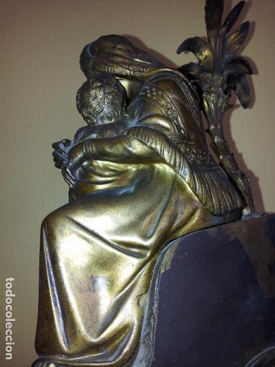Relojes de carga manual: Reloj frances sobremesa en bronce patinado y marmol ..siglo XIX..CIUDAD DE NEVERS FRANCIA - Foto 78 - 82083716