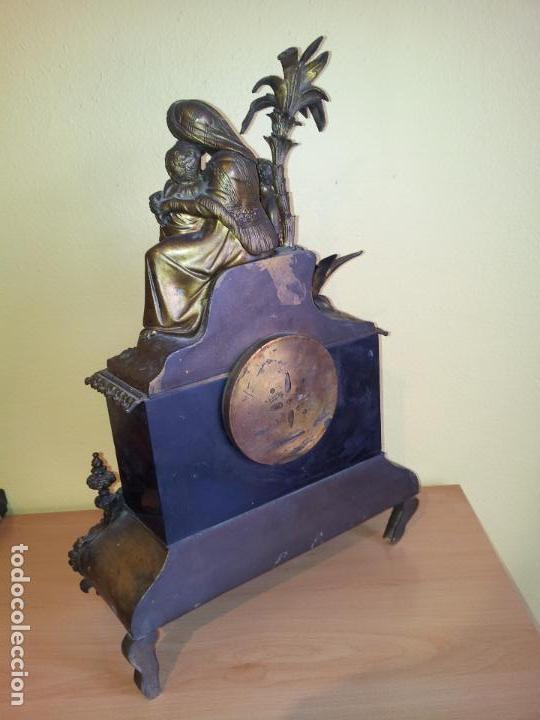 Relojes de carga manual: Reloj frances sobremesa en bronce patinado y marmol ..siglo XIX..CIUDAD DE NEVERS FRANCIA - Foto 79 - 82083716