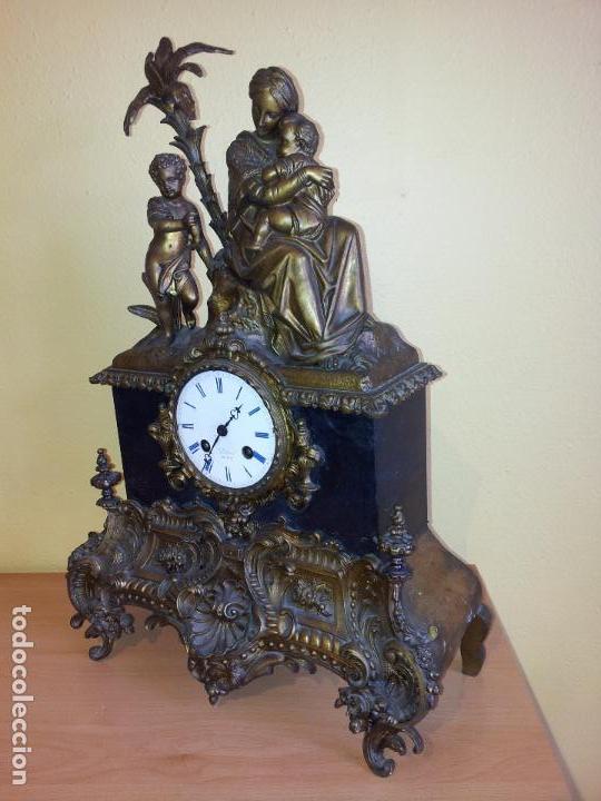 Relojes de carga manual: Reloj frances sobremesa en bronce patinado y marmol ..siglo XIX..CIUDAD DE NEVERS FRANCIA - Foto 81 - 82083716