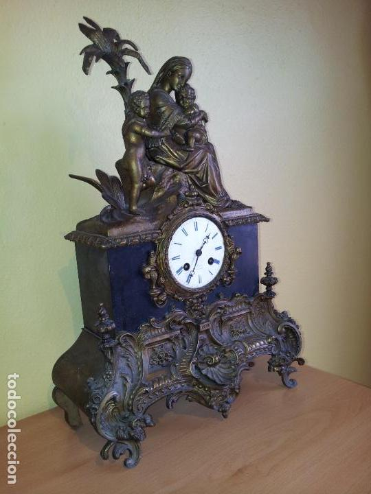 Relojes de carga manual: Reloj frances sobremesa en bronce patinado y marmol ..siglo XIX..CIUDAD DE NEVERS FRANCIA - Foto 82 - 82083716