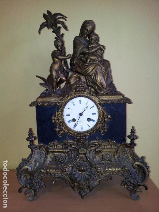 Relojes de carga manual: Reloj frances sobremesa en bronce patinado y marmol ..siglo XIX..CIUDAD DE NEVERS FRANCIA - Foto 83 - 82083716