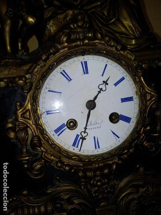 Relojes de carga manual: Reloj frances sobremesa en bronce patinado y marmol ..siglo XIX..CIUDAD DE NEVERS FRANCIA - Foto 87 - 82083716