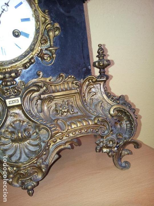 Relojes de carga manual: Reloj frances sobremesa en bronce patinado y marmol ..siglo XIX..CIUDAD DE NEVERS FRANCIA - Foto 88 - 82083716