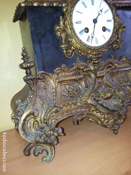 Relojes de carga manual: Reloj frances sobremesa en bronce patinado y marmol ..siglo XIX..CIUDAD DE NEVERS FRANCIA - Foto 89 - 82083716