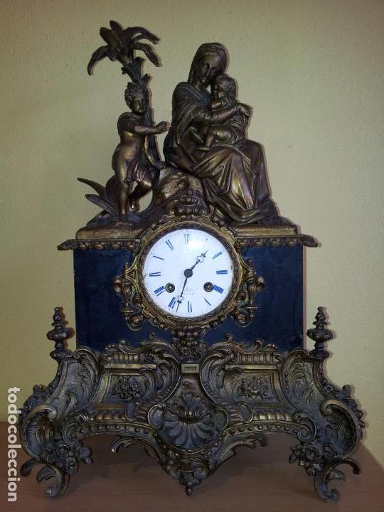 Relojes de carga manual: Reloj frances sobremesa en bronce patinado y marmol ..siglo XIX..CIUDAD DE NEVERS FRANCIA - Foto 91 - 82083716