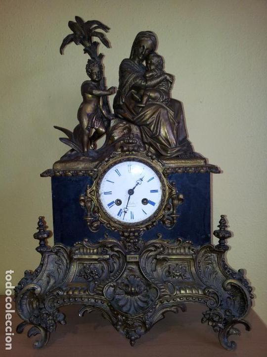 Relojes de carga manual: Reloj frances sobremesa en bronce patinado y marmol ..siglo XIX..CIUDAD DE NEVERS FRANCIA - Foto 92 - 82083716