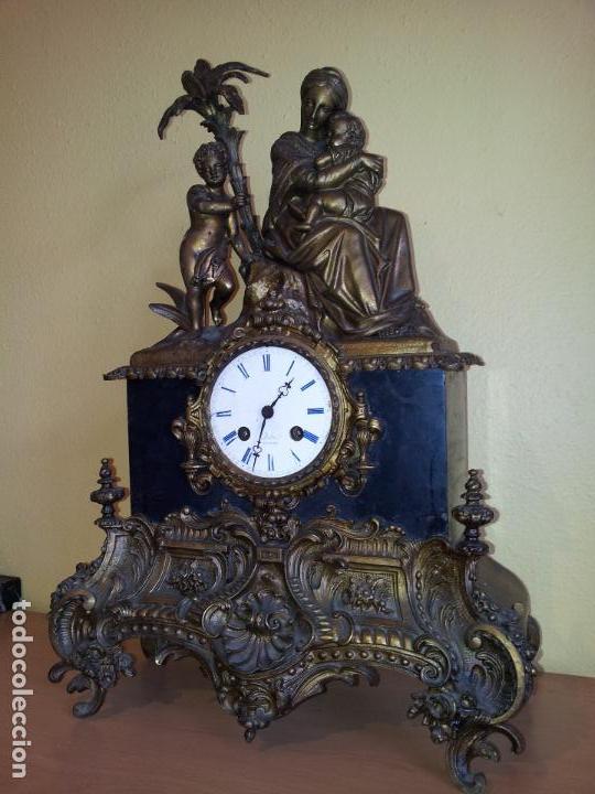 Relojes de carga manual: Reloj frances sobremesa en bronce patinado y marmol ..siglo XIX..CIUDAD DE NEVERS FRANCIA - Foto 93 - 82083716