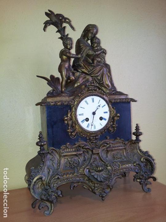 Relojes de carga manual: Reloj frances sobremesa en bronce patinado y marmol ..siglo XIX..CIUDAD DE NEVERS FRANCIA - Foto 94 - 82083716