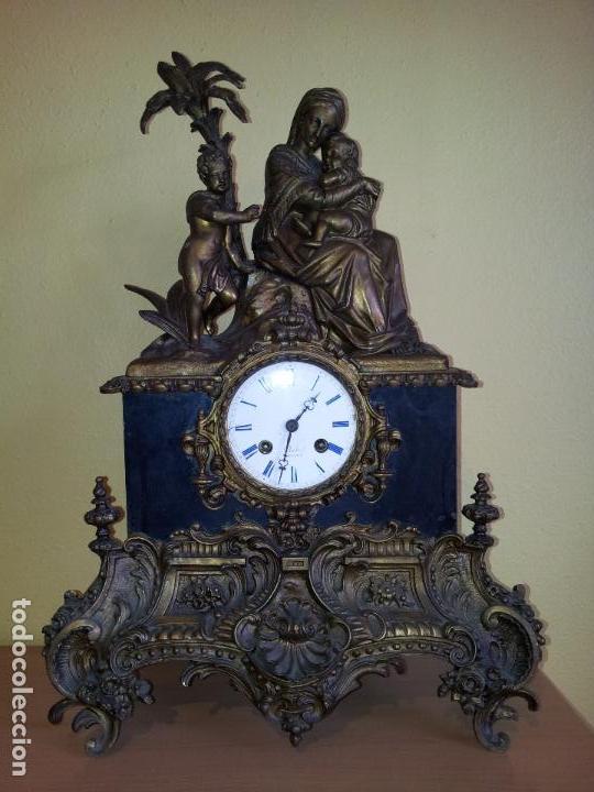 Relojes de carga manual: Reloj frances sobremesa en bronce patinado y marmol ..siglo XIX..CIUDAD DE NEVERS FRANCIA - Foto 95 - 82083716