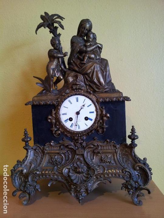 Relojes de carga manual: Reloj frances sobremesa en bronce patinado y marmol ..siglo XIX..CIUDAD DE NEVERS FRANCIA - Foto 97 - 82083716