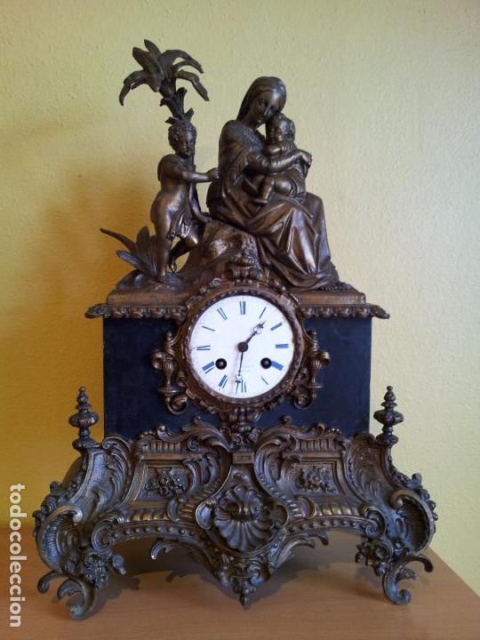 Relojes de carga manual: Reloj frances sobremesa en bronce patinado y marmol ..siglo XIX..CIUDAD DE NEVERS FRANCIA - Foto 98 - 82083716