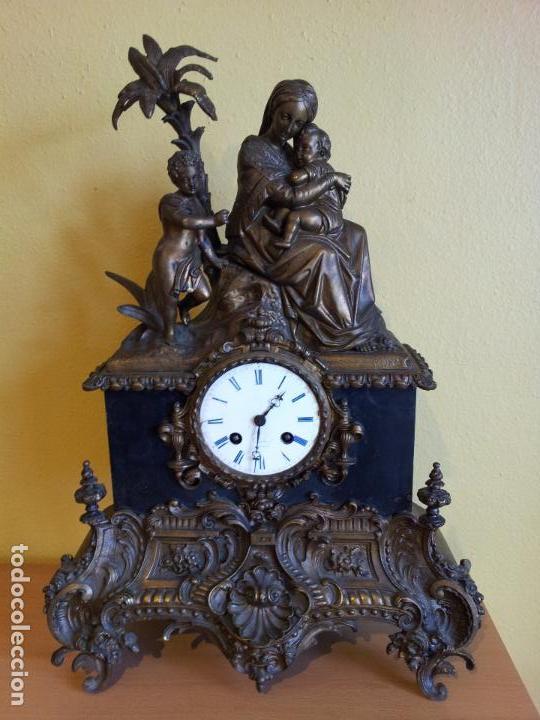 Relojes de carga manual: Reloj frances sobremesa en bronce patinado y marmol ..siglo XIX..CIUDAD DE NEVERS FRANCIA - Foto 99 - 82083716