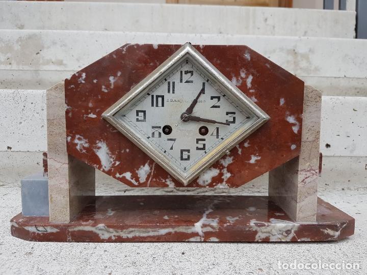 Relojes de carga manual: RELOJ DE CHIMENEA O SOBREMESA ART DECO ANTIGUO EN MARMOL ROJO,AÑOS 20 - Foto 2 - 82258732