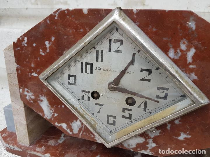 Relojes de carga manual: RELOJ DE CHIMENEA O SOBREMESA ART DECO ANTIGUO EN MARMOL ROJO,AÑOS 20 - Foto 4 - 82258732