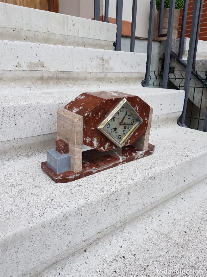Relojes de carga manual: RELOJ DE CHIMENEA O SOBREMESA ART DECO ANTIGUO EN MARMOL ROJO,AÑOS 20 - Foto 5 - 82258732