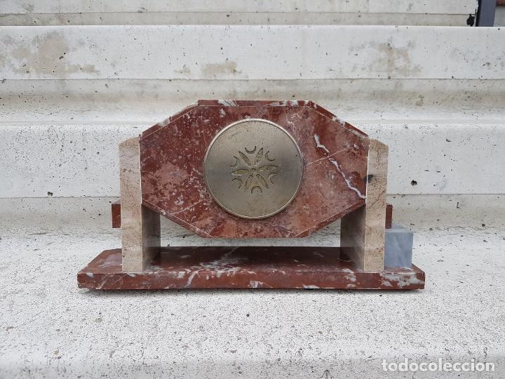 Relojes de carga manual: RELOJ DE CHIMENEA O SOBREMESA ART DECO ANTIGUO EN MARMOL ROJO,AÑOS 20 - Foto 7 - 82258732