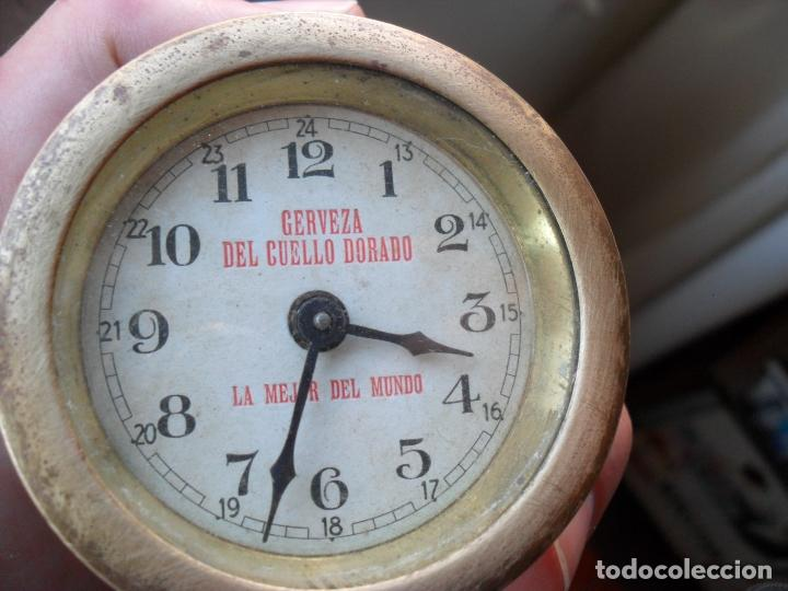 Relojes de carga manual: reloj sobre mesa años 50 publicidad cerveza del cuello dorado,mide 8 cm alto - Foto 6 - 83586528