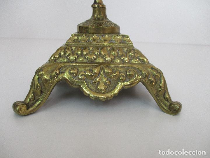 Relojes de carga manual: Antiguo Reloj de Sobremesa - con Guarnición Candelabros - Bronce - Napoleón III - Completo -Funciona - Foto 23 - 87195416