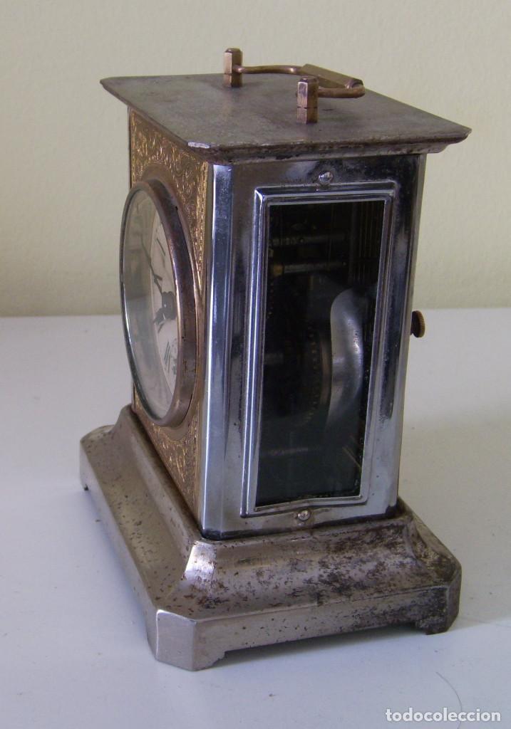 Relojes de carga manual: Reloj carruaje con sonería horas y medias y despertador - Foto 5 - 89494152
