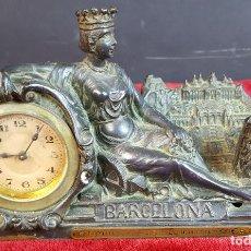 Relojes de carga manual: RELOJ DE SOBREMESA. RECUERDO DE LA EXPOSICIÓN INTERNACIONAL BARCELONA 1929.. Lote 90345424