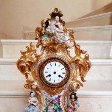 Relojes de carga manual: EXTRAORDINARIO RELOJ DE GRAN TAMAÑO EN PORCELANA VIEJO PARIS,FRANCIA,S. XIX. Lote 93230610
